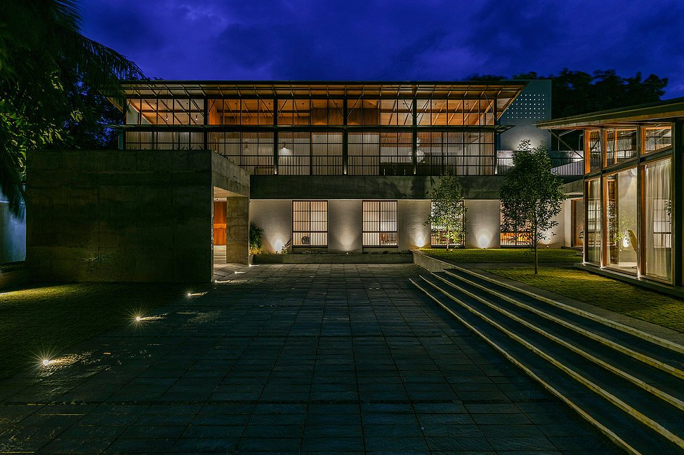 The Skew House : Night Full Exterior View